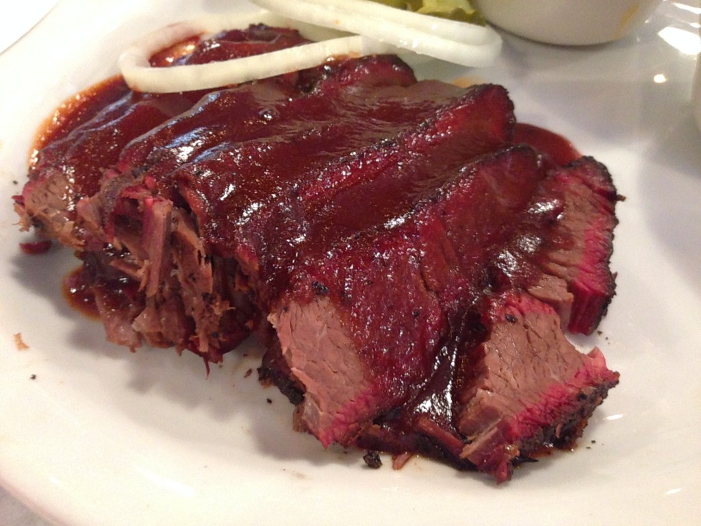 Once you got past the sauce, the brisket looked delicious, but in the end, it was lacking in flavor